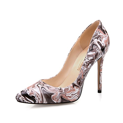 Onlymaker Damenschuhe High Heels Spitze Toe Pumps mit Animal Print Wildleder Leopard snake-10.05cm
