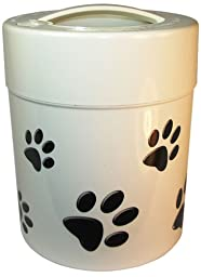 Pawvac 2.5 Pound Vacuum Sealed Pet Food Storage Conatainer; White Cap & Body/Black Paws