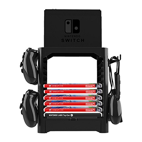 J&TOP Multifunctional Game Disk Storage Tower Holder For Nintendo Switch Console and Switch Pro Controllers