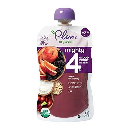 - Plum Organics Mighty 4, Organic Toddler Food, Apple, Blackberry, Purple Carrot, Greek Yogurt, Oat and Quinoa,4 Ounce Pouch (Pack of 12)
