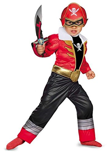 Disguise Saban Super MegaForce Power Rangers Red Ranger Toddler Muscle Costume, Small/2T]()