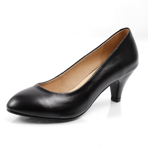 Womens Micro Heel Round VogueZone009 Soft Toe Fiber Solid Black Material Closed Pumps Mid SxqdOpF
