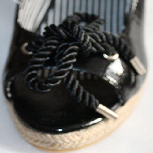 Flyfor - Zuecos de sintético para mujer negro negro
