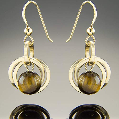 Brown Tiger Eye Natural Gemstone Small Dangle Earrings with 14K Yellow Gold ()