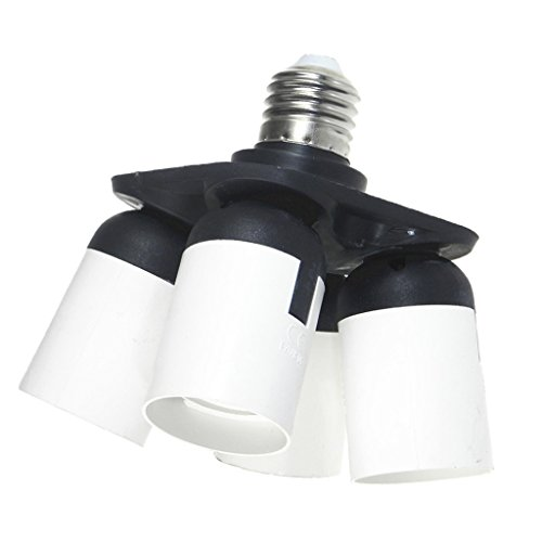 MagiDeal 4 in 1 Socket Adapter Converter, 1 to 4 E27 Base Lamp Holder Socket Splitter for Photo Studio, Work Shop, Garage Lighting by Unknown