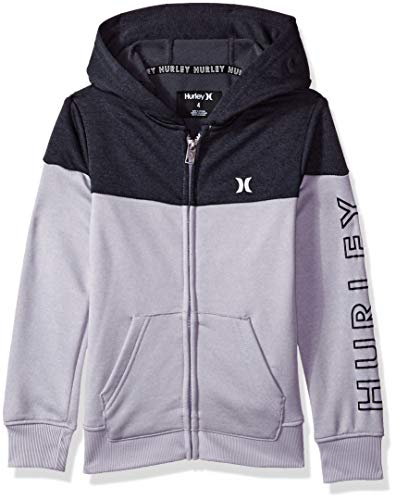 Hurley Boys' Big Solar Zip Up Hoodie, Grey Heather/Black, L (Hurley Girl Little Clothing)