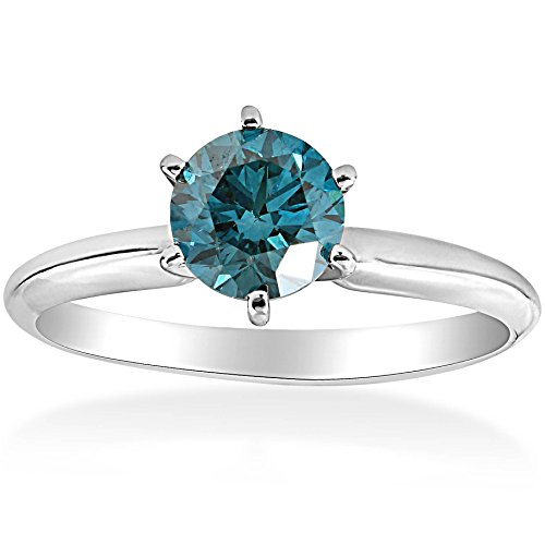 1 1/2ct Blue Diamond Solitaire Engagement Ring 14K White Gold - Size 9.5