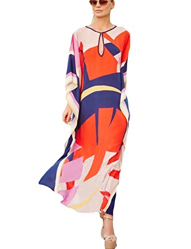 (Ailunsnika Women Rayon Multicolor Swimsuits Cover Up Loose V Neck Batwing Sleeve Ethnic Print Caftan Beachwear Dress)