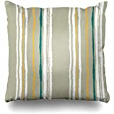 Decor.Gifts Throw Pillow Covers Napkin Strip Pattern Lines Torn Effect Shred Edge Cold Gray Yellow White Colors Winter Abstract Industrial Cushion Case Square Size 18 x 18 Inches Home Decor Pillowcase