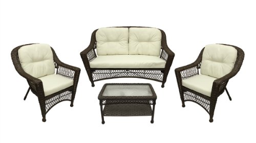 (Gerson 4-Pc Somerset Dark Brown Resin Wicker Patio Loveseat, Chairs & Table Furniture Set - Cream Cushions)