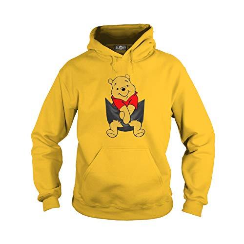 Unisex Pocket Pooh Adult Hooded Sweatshirt (S, Yellow)