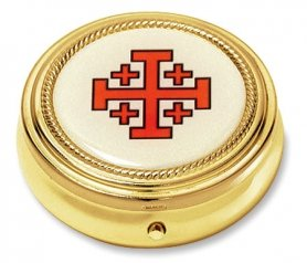 Catholic & Religious Jerusalem Cross Pyx. Material: Gold Finish/epoxy Size: 2 1/4