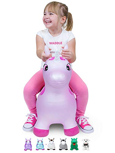 WADDLE Pink Unicorn Toy Favorite Space Hopper Ride On Large Inflatable Animal Kids Riding Bouncy Horse for Girls Twilight Sparkle Magical Pony Interactive for Toddlers and Children Gift Idea