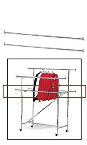Pair of Chrome Add On Rails for Chrome Double-Rail Clothing Rack with Z-Brace