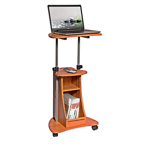 Adjustable Height Laptop Cart With Storage. Color: Woodgrain -