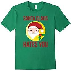 Mens Santa Clause Hates You Anti Christmas Sarcastic Pun T-Shirt Medium Kelly Green