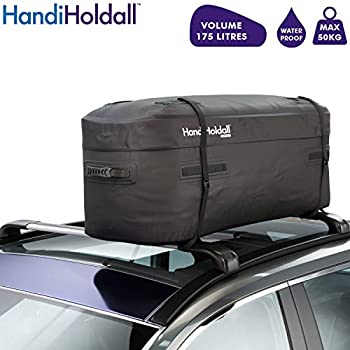 Image of Cargo Carriers HandiHoldall - 175L Waterproof Roof Bag/Top Box (Black) – Large Cargo Carrier - Solid Foldable Base