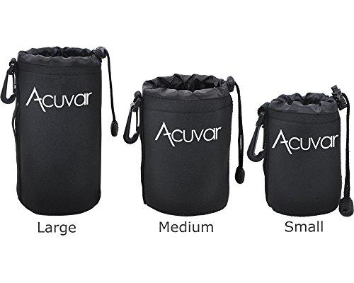 Acuvar Neoprene Soft DSLR Lens Pouch Case Kit For Canon (Neoprene Lens Case)