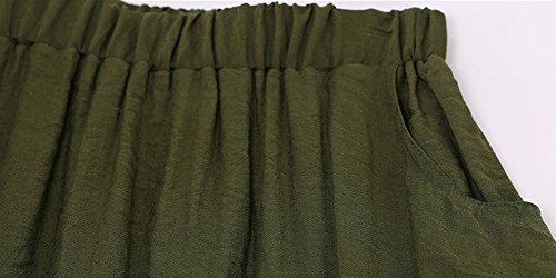 Pure Taille ZhuiKunA Vert Respirant Bureaux Couleur Arme Poches Haute Jupe Irrgulier Femme vqrIOa0wr