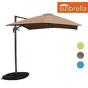 Sundale Outdoor 8.2ft Square Sunbrella Fabric Offset Hanging Umbrella Market Patio Umbrella Aluminum Cantilever Pole with Crank Lift, Corss Frame, 360°Rotation, for Garden, Deck, Backyard (Camel)