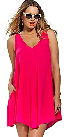 swimsuitsforall Women's Fuschia Handkerchief Dress 10 Pink