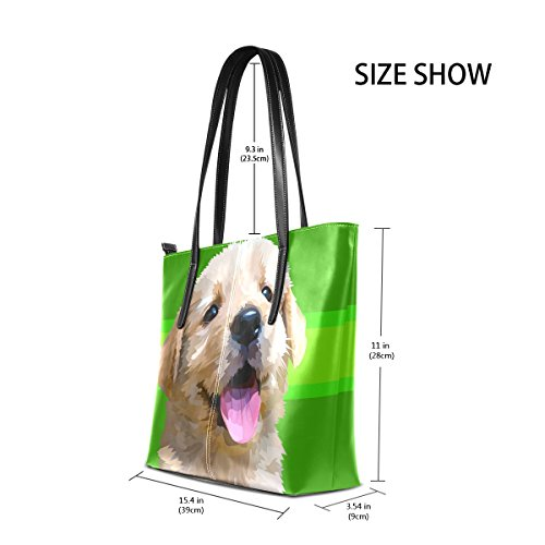 Handbag Retriever Shoulder Purses Golden Fashion Bags PU Handle Top Totes Dog TIZORAX Breed Leather Small Art Women's Fluffy qIPwWUA6