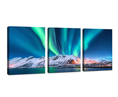 Baisuwallart-Wall Art Aurora Borealis Canvas Prints Green Worthern Lights,Night Winter,Sea with Sky Reflection and Snowy Mountains Picture Painting for Office Home Decorations Wall Decor