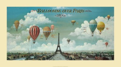 Ballooning Over Paris Art Poster Print by Isiah and Benjamin Lane, (Overall Size: 36x20) (Image Size: 32x16) (Short Paris)