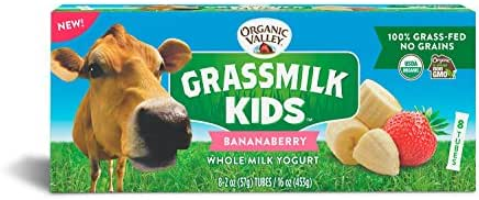 Organic Valley, Grassmilk Kids Whole Milk Yogurt Tubes, Bananaberry, 2 oz (Pack of 8)