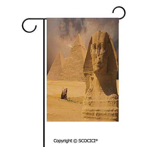 SCOCICI Double Sided Washable Customized Unique 12x18(in) Garden Flag The Great Sphinx Face with Other Pyramids in Egypt Old Historical Monument,Cream,Flag Pole NOT Included