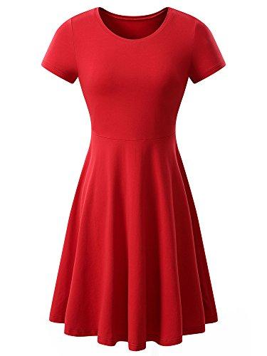HUHOT Red Dress, Short Sleeve Round Neck Casual Flared Midi Dress XX-Large Wine