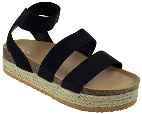 Forever Atarah 04 Womens Double Band Open Toe Slingback Raised Platform Espadrille Sandals Black 10