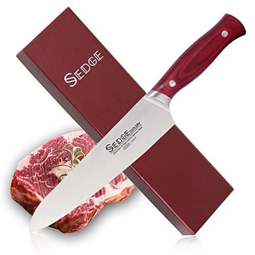 Sedge Chef Knife 8 Inch Kitchen Restaurant Cooking Razor Sharp Blade High Carbon German Stainless Steel with Ergonomic Pakkawood Handle Gift Boxed - ST Series by SEDGE