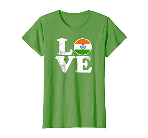 Womens Love India Flag tShirt Home Pride Distressed Tee Medium Grass by Indian Pride Novelty Shirts And Apparel