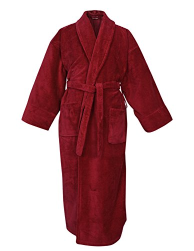 BC BARE COTTON 100% Turkish Cotton Women Terry Velour Shawl Robe, One Size, Burgundy Cotton Terry Velour Shawl