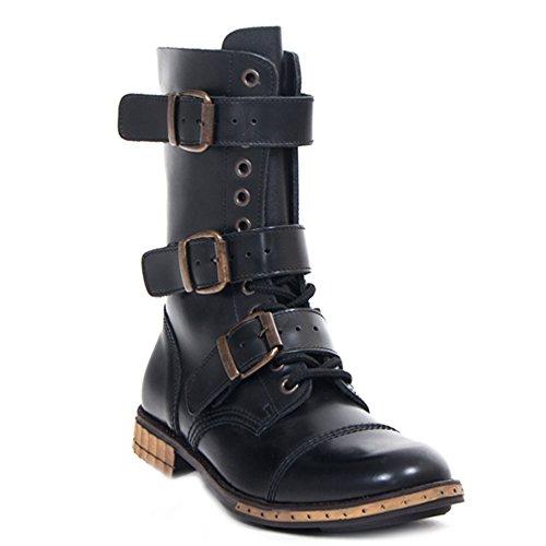 3 UK Gothik 9 Schnallen Braces Ranger Steampunk Schwarz amp; Schuhe Boots Loch 12 RqpCp4