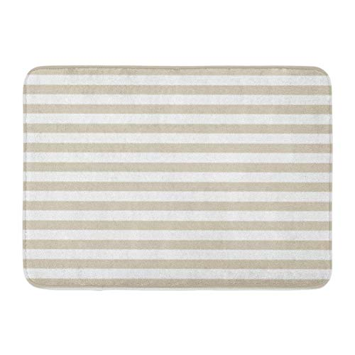 Ashley Lauren Mia Beautify Adornment Bath Mat Modern Tan Beige White Stripes House Daily Bathroom Novel Classic Adornment Rug (15.7W x 23.6L) Inches Doormat Welcome Mat Indoor Outdoor No