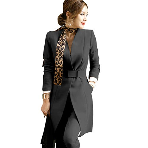 OSEMALL Women's Two Pieces Blazer Office Lady Suit Set for Work Trench Coat Suit Jacket and Pants Black, Large