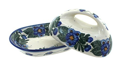 Polish Pottery Forget Me Not Butter Dish
