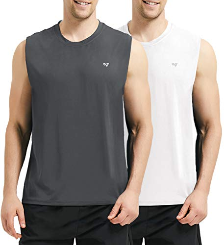 Roadbox Men's 2 Pack Performance Sleeveless Workout Muscle Bodybuilding Shirt Athletic Running Quick-Dry T-Shirt(Large, Grey&White) ()