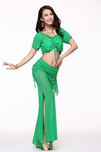 Danza del vientre Disfraz Set Bandage Yarn Top+See-through Wide Leg Pantalones Dark Green