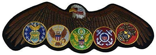 Embroidered Patch - Patches for Women Man - Eagle with All US Military Branch Logos Army Navy USMC USAF USCG by Patcherer