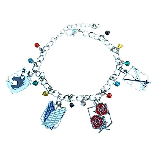 Blue Heron Attack On Titan 4 Logo Charms Lobster Clasp Bracelet w/Gift Box ()