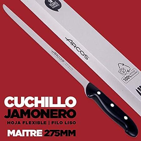 Arcos | Juego Cuchillo Jamonero Chaira |2 Uds | Juego Cuchillos Cuchillos jamonero 275 mm + afilador Tipo chaira 230 mm| jamonero Profesional| Envase Ecológico | Maitre
