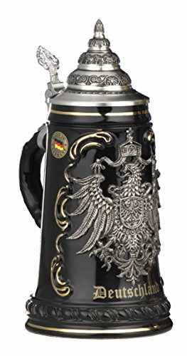 German Beer Stein black Deutschland pewter eagle Stein 0.5 liter tankard, beer mug KI 415-SZA 0,5L Deutschland (1/2 Liter German Beer)
