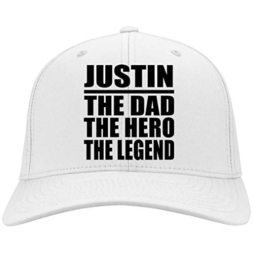 Dad Cap, Justin The Dad The Hero The Legend - Twill Cap White/One Size, Adjustable Golf Baseball Hat