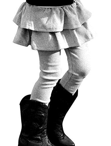 Kids Girls Elastic Waist Fleece Lined Leggings with Ruffle Tutu Skirt (4T, Light Grey) - Childrens Fleece Lined Leggings
