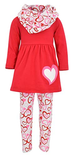 Unique Baby Girls Valentine's Day Red & Pink Hearts Legging Set (8/XXXL, Red) -