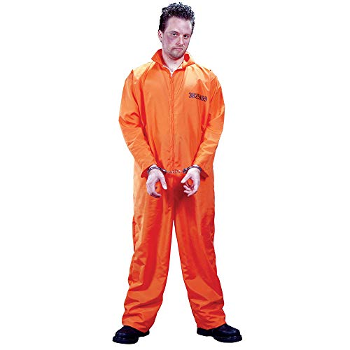 (FunWorld Men's  Got Busted Penitentiary Costume, Orange, One Size)