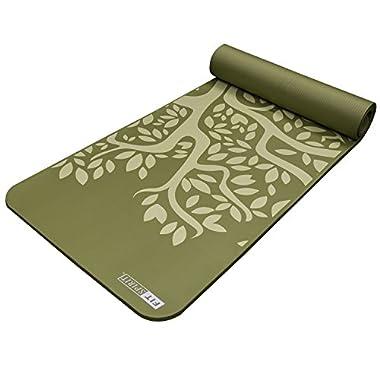 Fit Spirit NBR Yoga Mat, 72  x 24  x 1/2  - Tree / Green